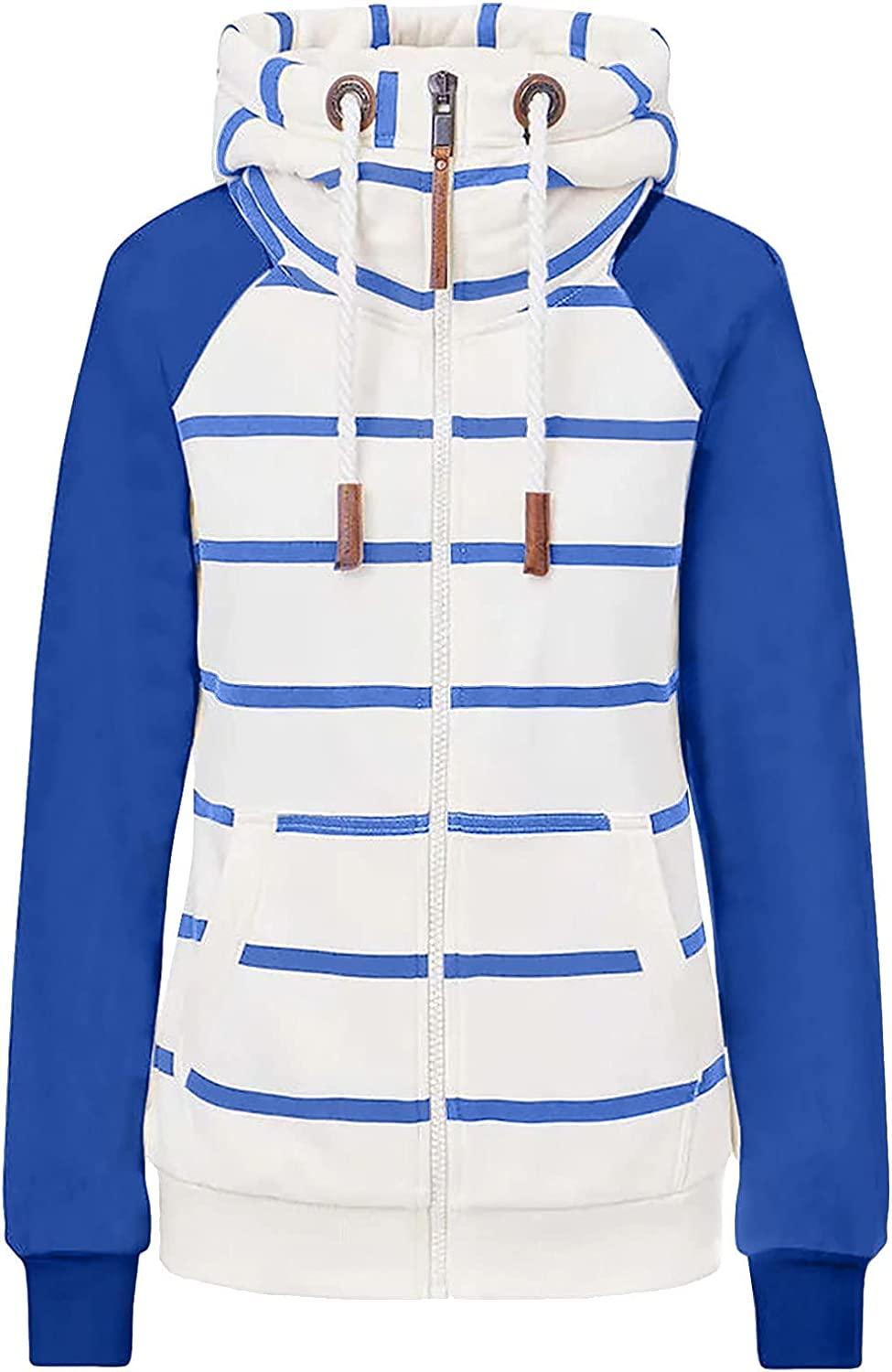 Women Hoodie Jacket Fashion Stripe Sweater Coat Long Sleeve Zip Up Oversized Drawstring Casual Outerwear with Pocket
