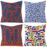 Funda de Cojín para Cojines Sofa Juego de 4 Suave Lino 45x45 cm para Sofá Sala de Estar Coche Cama Sillas Funda de Almohada Cuadrado Decoración Almohada Patrón Abstracto de Keith Haring,Estilo 3