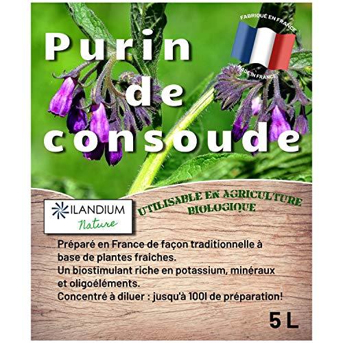 Purin de consoude 5L (existe en 2L) produit liquide concentré Made in France, jusqu'à 100 L de préparation, un biostimulant naturel pour le traitement des légumes, fleurs et fruitiers de façon bio