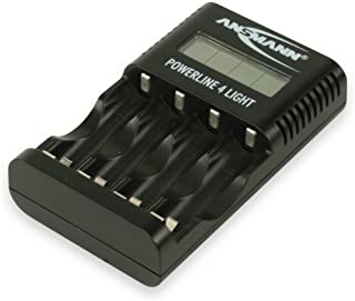 ANSMANN Powerline 4 Light AA & AAA Battery Charger for NiMH NiCd Rechargeable Batteries with USB Port | with UK & EU Plugs...