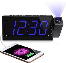 ساعة حائط على شكل السقف، ساعة منبه راديو AM FM بشاشة رقمية LED 7 بوصات مع إضاءة خافتة، شحن USB، بطارية احتياطية لغرفة النو...