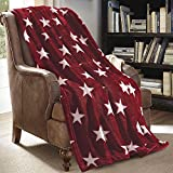 JML Throw Blanket for Couch - Super Soft Lightweighted Microfiber Fuzzy Flannel Blanket Throw Shawls and Wraps for Adults or Pet - Star Red