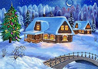 KoKoWill DIY 5D Diamond Painting Kit for Adults, Full Drill Square Crystal Rhinestone Embroidery Cross Stitch Home Wall Decor Art Craft Canvas,Christmas Snow Country Town,15.75 x 11.81 inch