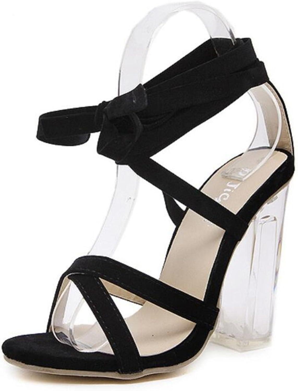 LINYI Women's Ankle Strap Cross Strap Sandals Chunky Heel Black Open Toe Simple High Heels