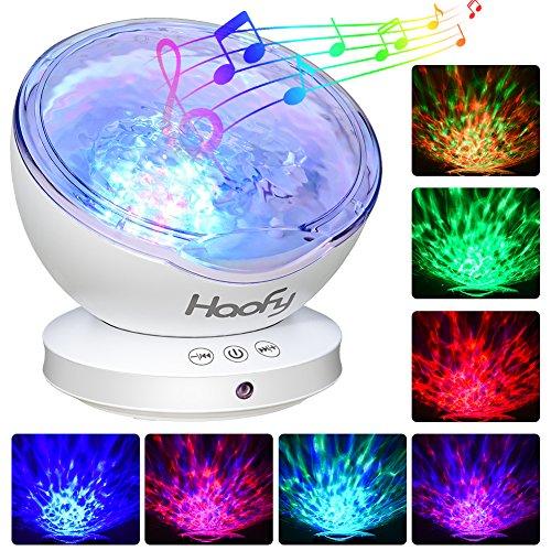 Projektor Lampe Sternenhimmel, Haofy 12 LED Ozeanwelle Projektor Licht Lampe mit Multifunktionale (Musik-Eingang /6 Lichtmodi/4 Naturklänge Eingespeicher, Nachtlicht für Kinder Geschenk