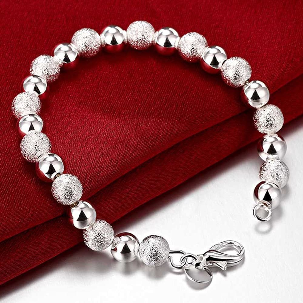 8MM Scrub Light Recommended Virginia Beach Mall Bead Bracelets Jewelry 925 Sterling Beade Silver