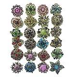 Ezing Lot 24pc Shining Rhinestone Crystal Brooches Pins DIY Wedding Bouquet Kit (E)