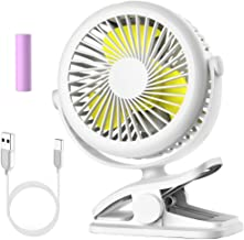 Stroller Fan Clip on Battery Operated Fan, Cambond Personal Fan for Baby Stroller, Rechargeable 2200mAh Battery, 3 Adjustable Speeds for Baby Girl Carseat Office Travel Camping, White