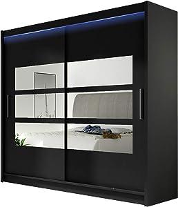 Kleiderschrank mit Spiegel London III, Schwebetürenschrank, Schiebetürenschrank, Modernes Schlafzimmerschrank 180x215x57cm, Garderobe, Schlafzimmer (Schwarz, mit RGB LED Beleuchtung)