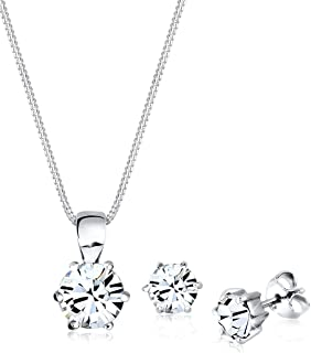 Elli Women's 925 Sterling Silver Xilion Cut Swarovski Crystals Necklace with Pendant of Length 45 cm with Stud Earrings