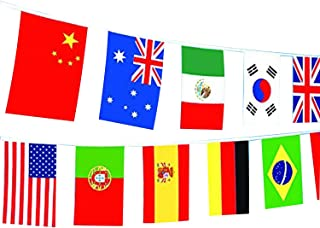 Spar.saa 66 Feet American/German/French/Brazil/Canada/Australia/British/Spanish/Portuguese/Russian Flag,60Pcs National Country World Flags Banner String (100 Countries Flags)
