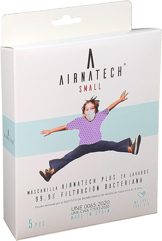 A AIRNATECH Mascarilla Higiénica Plus Lila Talla S - Protección Bidireccional - 5 Unidades - Fabricada en España - Certificada por AITEX y ensayada por AENOR - Reutilizable hasta 20 lavados
