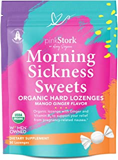 Pink Stork Morning Sickness Sweets: Ginger Mango Morning Sickness Candy for Pregnancy, Nausea, Digestion, 100% Organic + V...