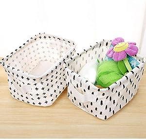 Krimo Storage Basket Organizer, Linen Foldable Waterproof Storage Bin Suitable for Toy Storage Clothes Closet Shelves Organizer, White