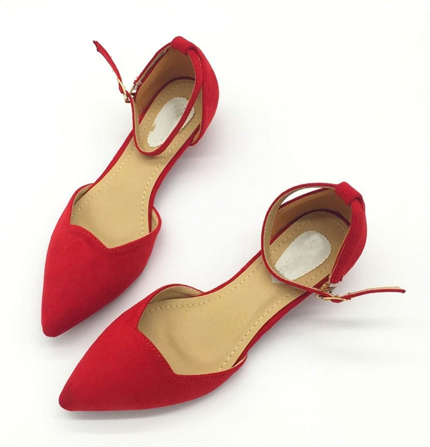 colorful Dream- Sexy Women Buckle Strap Low Heels Pumps Pointed Toe Flock D'Orsay Heels shoes