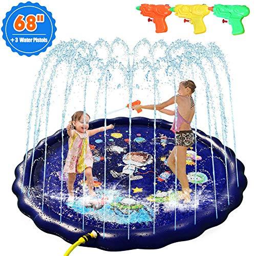 UHAPEER Splash Pad, Juego de Salpicaduras y Salpicaduras Aspersores 170cm, con 3 Pistolas de Agua, para Actividades Familiares Aire Libre Jardín Playa (Cielo Estrellado)