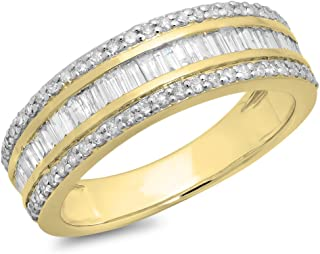 Dazzlingrock Collection 0.95 Carat (ctw) 10K Gold Round & Baguette Diamond Men's Anniversary Wedding Band Ring 1 CT