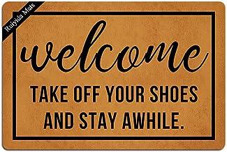 Ruiyida Welcome Take Off Your Shoes and Stay Awhile Entrance Floor Mat Funny Doormat Door Mat Decorative Indoor Doormat No...