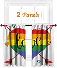 Pride Decorations, Window Curtain Fabric, Hand Drawn Rainbow Heart with Arrows Doodles Love Valentines Word Special Day, for Girls Bedroom (W55 x L45 Inch) Multicolor