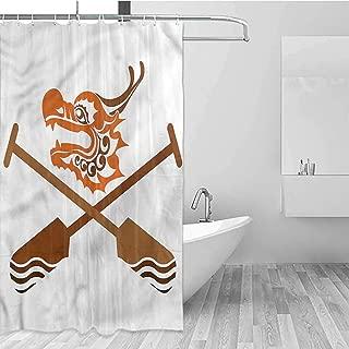 GloriaJohnson Oar Shower Curtains for Bathroom Dragon Boat Crossed Paddles Bath Curtain Durable Waterproof W69 x L74 Inch
