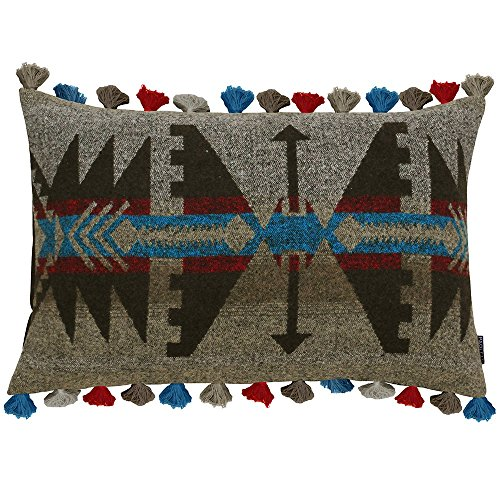 Riva Paoletti Inca Rectangular Cushion Cover - Multicolour Brown - Aztec Inspired Geometric Pattern - Tasseled Edges - Hidden Zip Closure - 100% Polyester - 40 x 60cm (16' x 24' inches)
