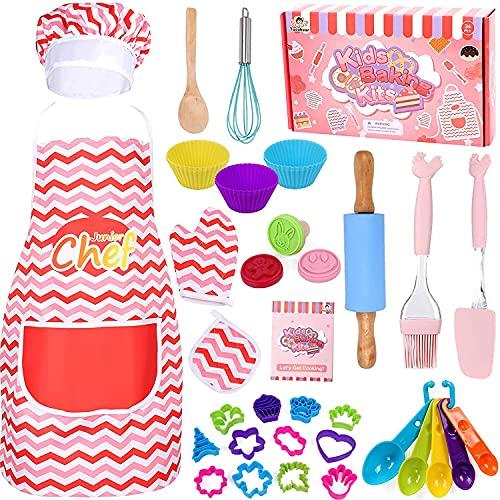 Tacobear 38 stycken matlagning och backset för barn barn kök tillbehör barn med recept förkläde kockhatt outfit barnens kök rollspelsset med förkläde, kockhatt för flickor och pojkar