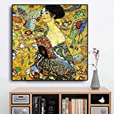 Arte de pared 50x50cm Signora sin marco de Gustav Klimt copia cartel escandinavo y grabado decoración de sala de estar cuadro de pared