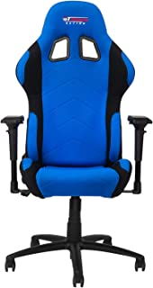 GT Omega PRO Racing Fabric Gaming Chair with Lumbar Support - Breathable & Ergonomic Office Chair with 4D Adjustable Armrest & Recliner - Esport Seat for Ultimate Gaming Experience - Blue Next Black