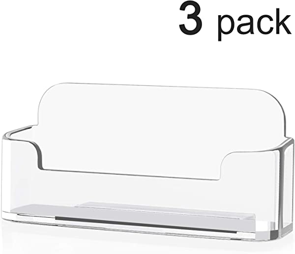 MaxGear 3 Pack Acrylic Business Card Holder For Desk Plastic Business Card Display Clear Business Card Stand Desktop Business Card Holders For Home Office 3 8 X 1 9 X 1 4 Inches