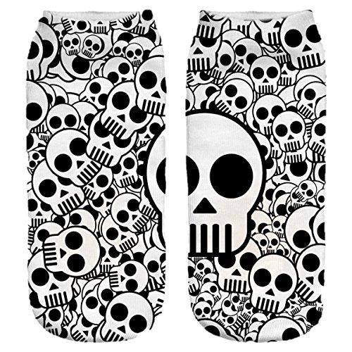 Ferocity Lustige Socken Sneaker Halbsocken Strümpfe Sportsocken Füßlinge mit Motiv 3D Black Skulls [001]