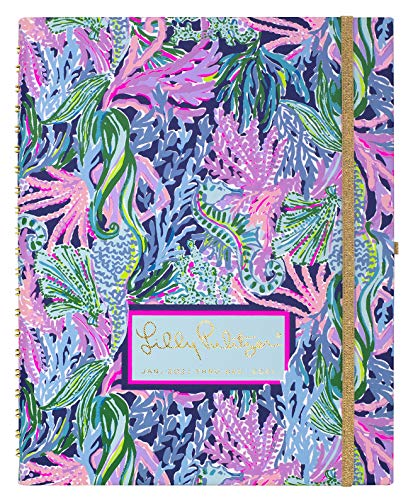 Lilly Pulitzer Jumbo Undated Planner Weekly & Monthly, 12 Month Hardcover Agenda with Notes Pages, Stickers, Laminated Dividers, Bringing Mermaid Back