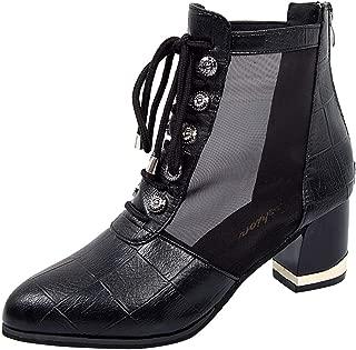 LANSKRLSP Stivaletti Donna Stivali Stringati Retro Borchie,Stivali Anfibi Boots,Mezzo,Cachi Grigio,35-43