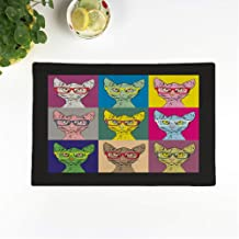 rouihot Set of 6 Placemats Green Bald Cat Hipster Glasses in The of Warhol 12.5x17 Inch Non-Slip Washable Place Mats for Dinner Parties Decor Kitchen Table