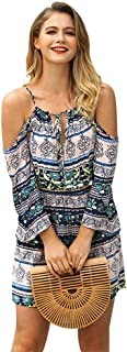 Mn&Sue Women's Spaghetti Strap Backless Floral SummerBeach Casual Mini Dress