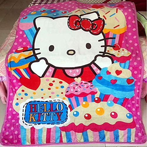 Anjos Cartoon Hello Kitty Cake Stripes Coral Fleece Blanket Throws Bedspread Sheet Super Soft Microfiber Polyester Print