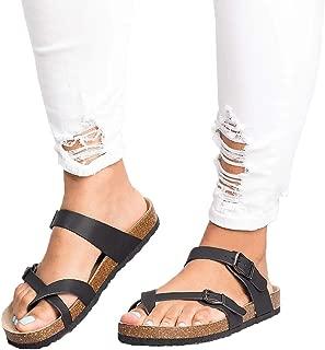Womens Cross Toe Double Buckle Strap Beach Summer Leather Flat Mayari Sandals
