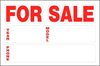 Hillman 841944 For Sale Static Cling Sign with Space for Fill In for Car Year, Model and Phone Number, White and Red Plastic, 8x12 Inches 1-Sign