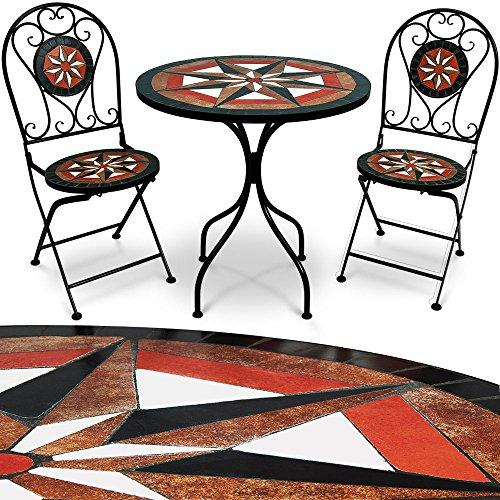 Deuba Conjunto de jardín 'PAMPLONA' juego de 1 mesa y 2 sillas mosaicos para interior y exterior patio jardín terraza