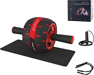 Ab Roller for Abs Exercise Workout Fitness -Ab Wheel Roller with Knee Mat and Jump Rope Resistance Bands,Perfect Home Gym Equipment for Men Women Abdominal Exercise