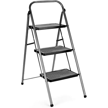 Delxo Step Ladder 3 Step Folding Step Stool with Anti-Slip Wide Pedal,Hold Up to 330lb Sturdy Steel 3 Step Stool ,Lightweight Folding Step Ladder for Adults Grey