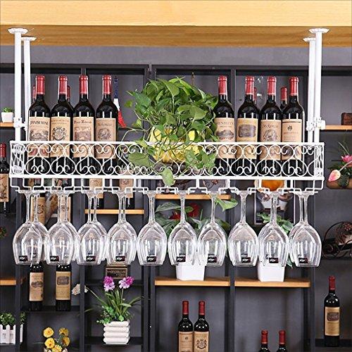 Bar Sospensione Bancone da Bar Portabottiglie Ristorante Casalinghi Bicchieri rovesciati Scaffale rovesciato Retro Arte del Ferro Portabottiglie (Colo