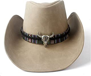 2019 Women Womens Unisex Vintage Western Cowboy for Women Leather Wide Brim Cowgirl Hat Cow Head Jazz Fedora Hat Leather Band Casual Fashion Practical Soft (Color : Tan, Size : 58-59)