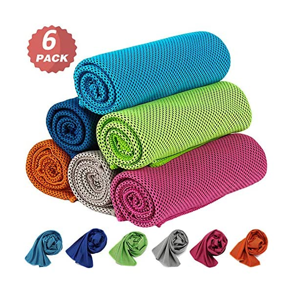KEAFOLS Cooling Towel 6 Packs 40×12'' Chill Ice Sports Towel Neck Headband Bandana Scarf for Instant Relief Stay Cool with Cold Microfiber Cloth for Yoga,Golf,Gym Fitness&Summer Outdoor Work