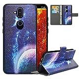 LFDZ Handyhülle für Nokia 8.1 Hülle,Premium 2 in 1 Abnehmbare PU Ledertasche für Nokia 7.1 Plus Hülle,RFID-Blocker Flip Hülle Tasche Etui Schutzhülle für Nokia 8.1 Hülle/Nokia X7 Hülle 2018,Planet