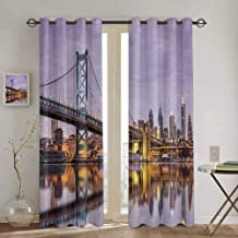 Lcxzjgk Room Darkened Curtain Apartment Decor Collection Easy to Clean Ben Franklin Bridge and Philadelphia Skyline Under Sunsets Reflections on Water Image W55 x L45 Inch Gray Ivory