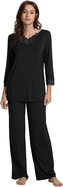 GYS Women's Long Sleeve Sleepwear Laced V Neck Bamboo Pajama Pants Set