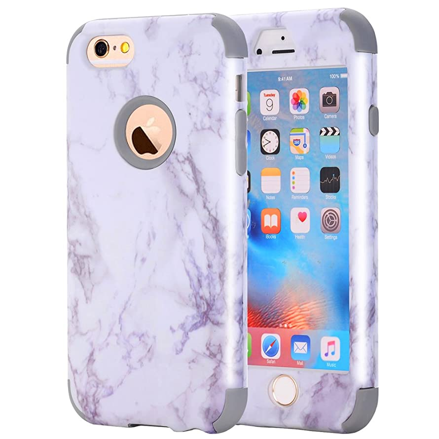 iPhone 6S /iPhone 6 Case, NOKEA [Marble Pattern] Three Layer Hybrid Heavy Duty Shockproof Protective Bumper Cover Soft Silicone Combo Hard PC Case for iPhone 6S /iPhone 6 (Grey)