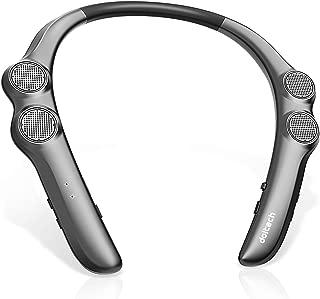 ネックスピーカー ポータブル 首掛け 肩掛け doltech Bluetooth5.0/CVC8.0ノイズキャンセリング ステレオヘッドセット ネックバンドワイヤレススピーカー(グレー)