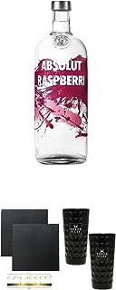 Absolut Vodka Raspberry 1,0 Literflasche  Schiefer Glasuntersetzer eckig ca. 9,5 cm Durchmesser 2 Stück  Three Sixty black Vodka Glas 2 Stück black