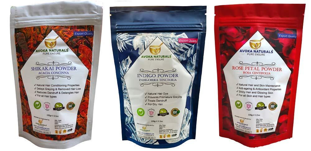 Avoka Naturals Shikakai Rose Petals Indigo Time sale Combo powder And Fixed price for sale Pack
